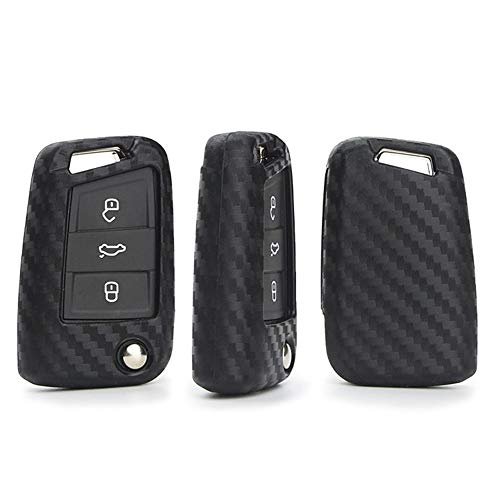 HCZSZH Carbon Fiber Silicone Car Key Case Cover , for VW Golf Seat Ibiza Passat B8 B7 Tiguan GTI Polo Beetle Bora Car Key Holder
