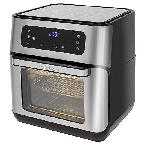 ProfiCook PC-FR 1200 H Heißluft-Fritteuse, 9 Automatikprogramme inkl. variabler Zeit und Temperatureinstellung, Kapazität: ca. 11 Liter, 4 Einschubhöhen für optimale Backergebisse, Edelstahl-schwarz