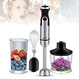 Batidora de mano de acero inoxidable de diseño 4 en 1, juego de 600 ml, vaso mezclador de 1200 W para la preparación de salsas, batidos de verduras y frutas, sopas y alimentos para bebés.