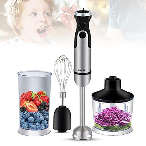 Stabmixer Set -1200W 4 in 1 Pürierstab Edelstahl,Hand-held Pürierstab für die Zubereitung von Babynahrung, Salaten, Suppen und Gemüse(600ml Zerkleinerer, 800ml Tasse, Mixer & Schneebesen)