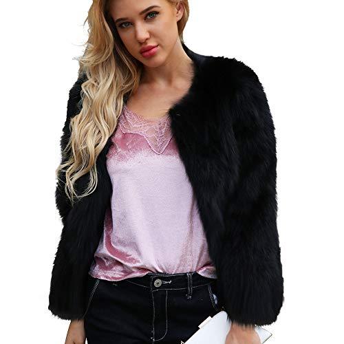DEELIN Moda Mujer Personalidad Ocasional ImitacióN Piel SóLido Color Gran Chaqueta De Solapa Invierno Abrigo De Felpa Abrigo Negro