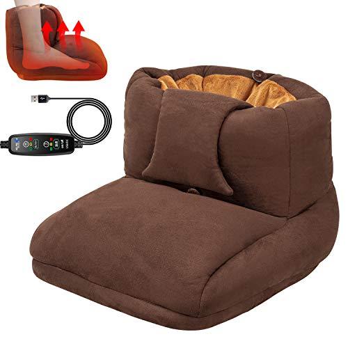 Calentador de pies eléctrico USB con 3 temperaturas ajustables, función de cronometraje, calentador, pie de oficina, forro lavable.