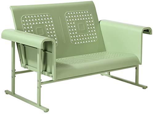Crosley Furniture CO1027-GR Veranda Retro Outdoor Metal Loveseat Glider, Oasis Green