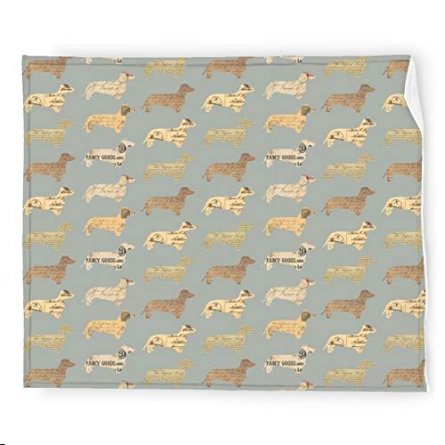 Dachshund - Manta de franela gris para perros, suave, cálida, acogedora, colorida manta decorativa para sofá, 127 x 152 cm