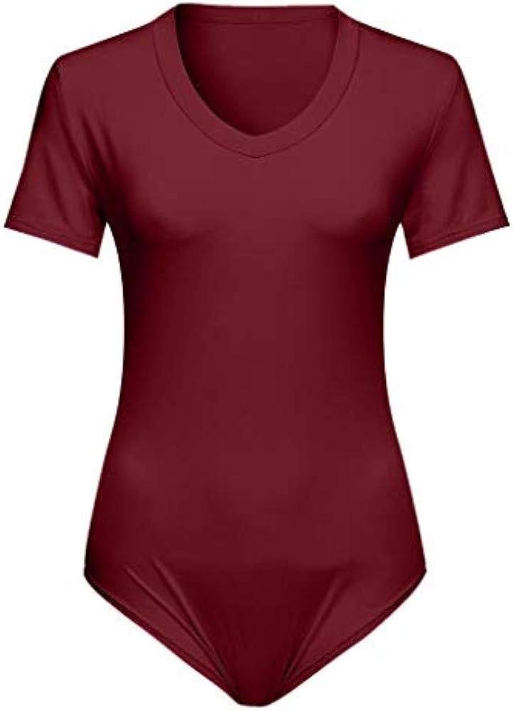 Womens Short Sleeve Basic Fit Skinny Solid Deep V-Neck Leotard Bodysuit Jumpsuit