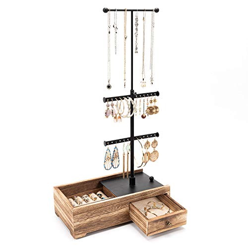 Emfogo Jewelry Holder Stand - Necklace Holder Stand with Hidden Drawer & Adjustable Height Rod Jewelry Organizer Tree for Necklaces Earrings Bracelets Rings Display Carbonized Black