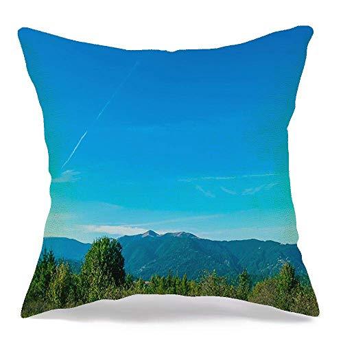 Throw Pillow Covers Case Sunlight Sunny Landscape Blue Beauty Cloud Mountain Nature Garden Autumn Sky Parks Spring Outdoor 18 x 18 Inch