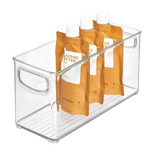iDesign Aufbewahrungsbox für die Küche, kleiner & tiefer Küchen Organizer aus Kunststoff, offene Kühlschrankbox mit Griffen, durchsichtig