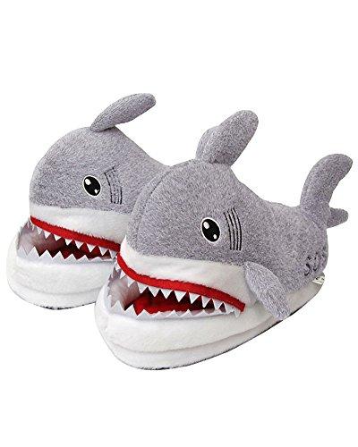 Invierno Mujer Hombre Felpa Suave Calentar Antideslizantes Moda Cartoon Tiburón Zapatillas de Estar Zapatos de Algodón para Adulto D Gris EU 35 42