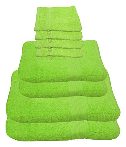 Julie Julsen 8 TLG Handtuchset 2 Badetücher 2 Handtücher 4 Waschhandschuhe Reine Baumwolle über 30 Farben Apfelgrün