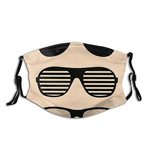 Máscara antipolvo para adultos, diseño estilizado, gafas de sol y accesorios de verano, estampado vintage, lavable, reutilizable