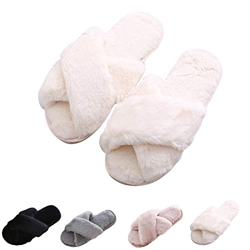 Cozy House Slippers for Women for Indoor and Outdoor Fuzzy Slip On Womens Slippers with Cross Band Open Toe Soft Plush Fleece House Shoes (White, numeric_7)