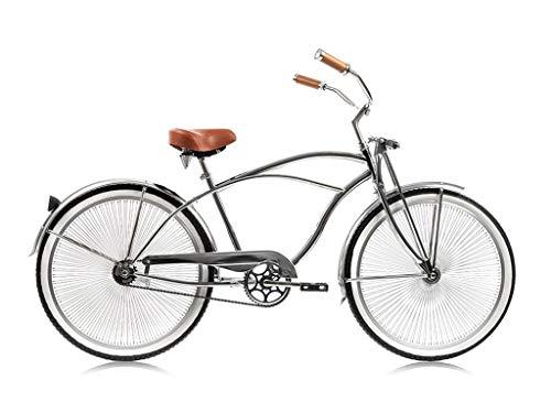 MICARGI Cougar GTS for Man, All Chrome Beach Cruiser Bikes with 68-Spoke 26' Wheels & Springer Front Fork