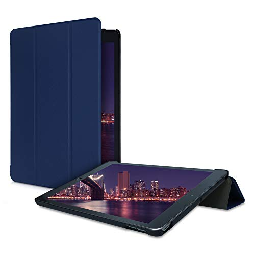 kwmobile Case Compatible with Apple iPad 10.2 (2019/2020-7./8. Gen) - PU Leather Smart Cover Protective Tablet Case with Stand - Dark Blue