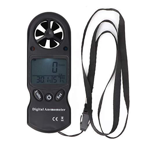 Anemómetro digital Probador de velocidad Termómetro Anemómetro Viento Multifunción 3-en-1 Medidor de volumen de aire para interior y exterior Camping Viajes