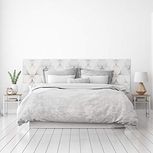 MEGADECOR Cabecero Cama PVC Decorativo Económico Diseño Abstracto Flor de Líneas Geométricas Medidas (150 cm x 60 cm)