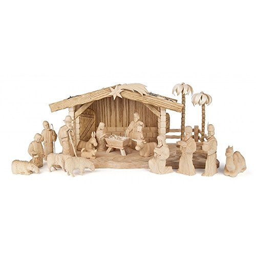 Dregeno Erzgebirge - Geschnitzte Krippe Christi Geburt - 18-teilig