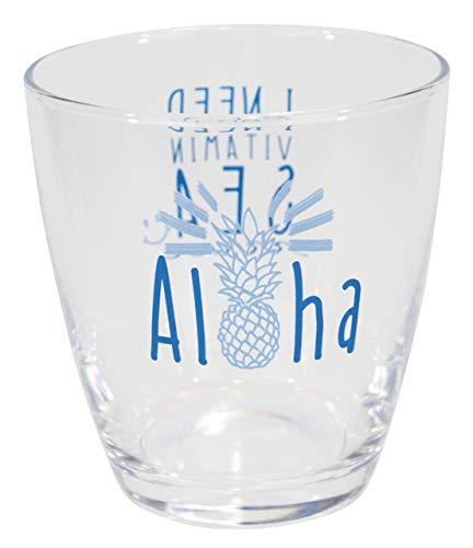 ハワイアン雑貨 ハワイ雑貨 パイナップル お土産 アロハ グラス FDパインアロハグラス (BLUE)