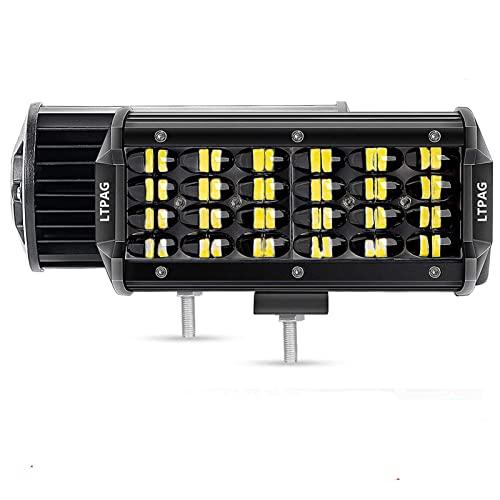 Faro da Lavoro, LTPAG 2 x 7'' 258W 25800lm Faretto Faro - 86 LEDs Flood Luci da Lavoro a led - Fendinebbia Luci Off Road IP68 impermeabile 6000K Bianco - per Off Road Moto 4WD SUV ATV UTV Camion