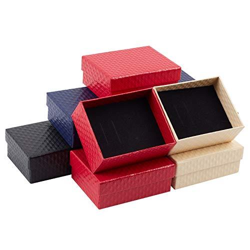 NBEADS Joyero de Cartón de 20 Pieza, Caja de Regalo de Papel Rectangular con Esponja para Embalaje Y Almacenamiento de Joyas, 9.7x7.8x3.9 cm