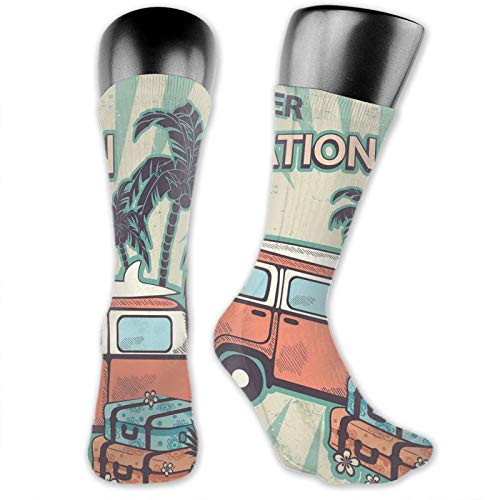 Men women Socks,Hippie Van Near Coconut Palm Trees Floral Suitcases And Surf Boards,Funky Socks Fashion Patterned Fun