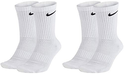 Nike SX4508 - Calcetines largos para hombre y mujer (4 pares), color blanco o negro 4 pares de color blanco. 42-46