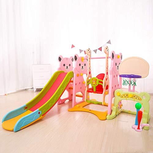 Yangangangjin - Tobogán para bebé, estructura de juego interior con columpio, puerta de fútbol, soporte de baloncesto, bate de béisbol, se puede utilizar con piscinas de bolas