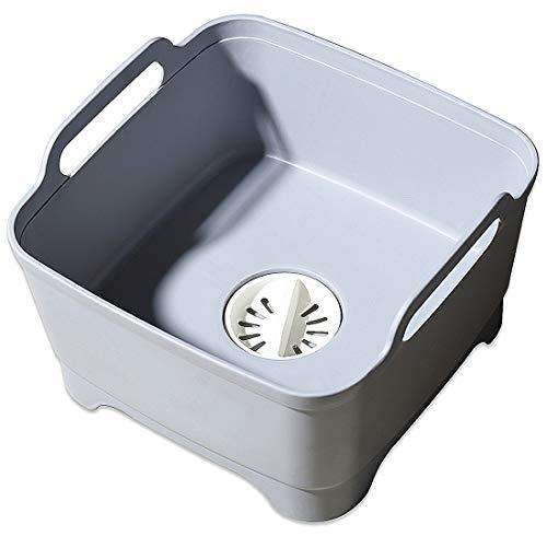 Lavabo con tapón de drenaje y asas de transporte para 8 L de capacidad, escurridor de frutas, escurridor de verduras, escurridor de platos portátil, color gris