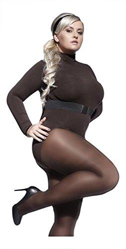 PLUS MAAT Zwart Grijs Chocolade SEMI OPAQUE TIGHTS voor Curvy Vrouwen 40 DENIER met Stretchy Gusset Bruin Extra Grote Maat XL XXL XXXL XXXXL Adrian Perla