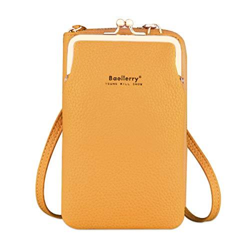 Bolso de Teléfono Móvil para Mujer Cartera Movil Cuero PU bolso para Movil y Cartera Pequeño Bolsa Bandolera con Ranuras para Tarjeta y Cremallera Billeteras de Mujer (Amarillo)