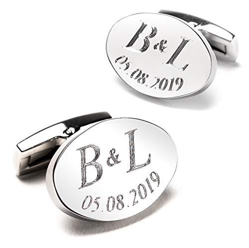 Diamandi Manschettenknöpfe mit Gravur - OVAL - Silber glänzend - Initialen & Datum gravieren Lassen - Schmuck für Herren aus Berlin