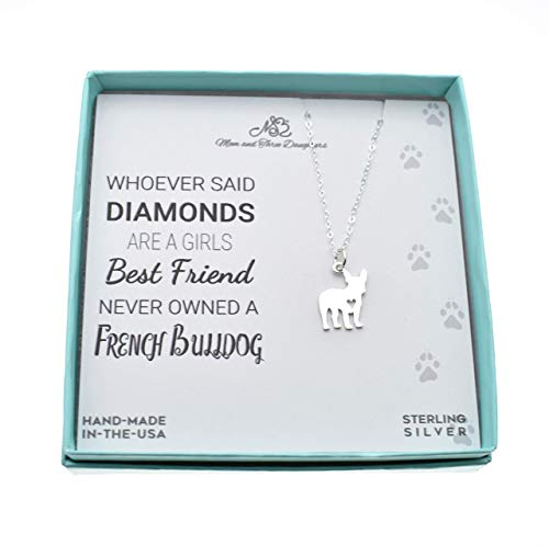 French Bulldog Necklace in Sterling Silver on an 18 Inch Sterling Silver Cable Chain. French Bulldog Gifts.