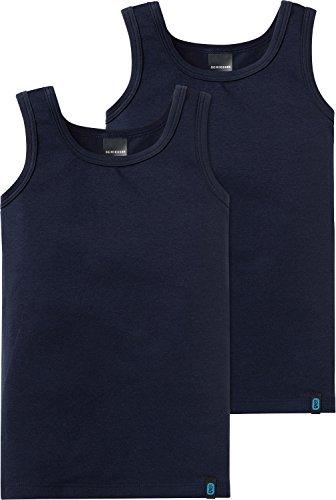 Schiesser Jungen 95/5 2pack Hemd 0/0 Unterhemd, Blau (Nachtblau 804), 104 (2er Pack)
