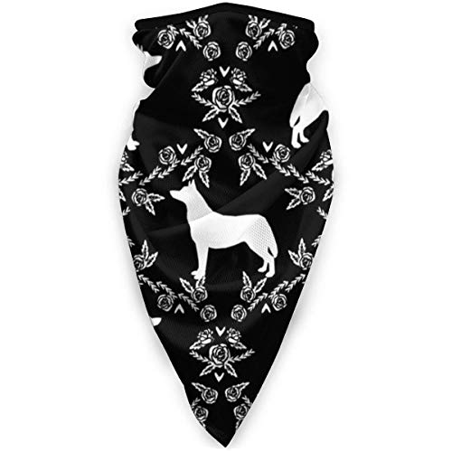 IZOU Husky Siberian Huskies Dog Silhouette Floral Black Neck Gaiter Face Mask,Multifunction for Man Women seasons Magic Scarf Bandana Balaclava