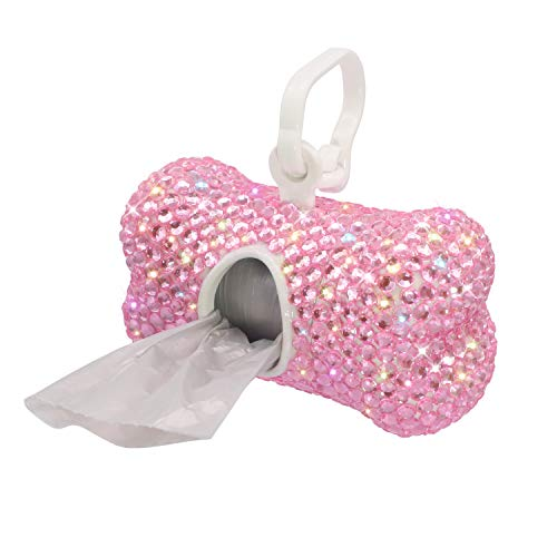 Soleebee Bling Crystal Bone Shaped Pet Waste Bag Dispenser with 1 Roll Waste Bags (Pink)