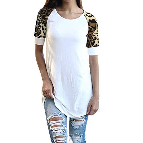 FRAUIT dames luipaard korte mouwen t-shirts oanzet splice blouse tops vrouwen losse blouse oversize sweatshirt top