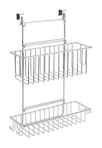 WENKO Einhängekorb Flexi, Organizer zum Einhängen an Schublade und Schranktür, geeignet für Badezimmer und Küche, ohne Bohren, 2 Etagen, aus Verchromten Metall, 32 x 47 x 12.5 cm