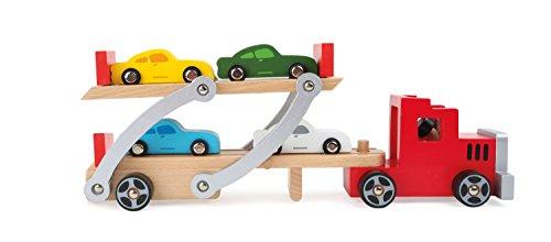 Magnifique camion en bois avec ses 4 voitures. Modulable.