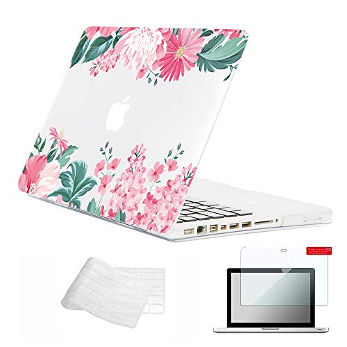 Se7enline Clear MacBook Pro 13 Inch Case A1278 Crystal Shell 2009-2012 Hard Case with CD-ROM Laptop Covers for MacBook Pro 13.3 with TPU Keyboard Cover,Screen Protector, Pink