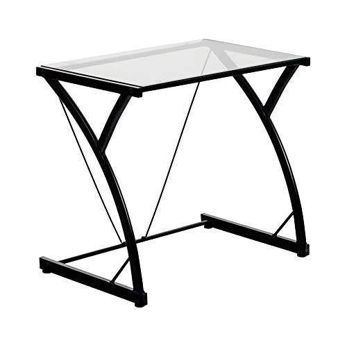 Mesa de trabajo con superficie de cristal - Ideal para el ordenador - Negro