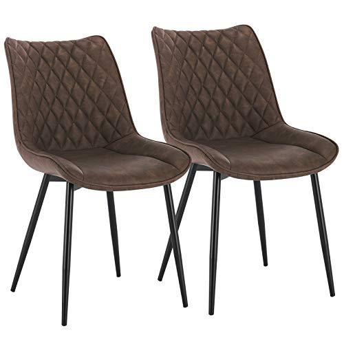 WOLTU® Esszimmerstühle BH210br-2 2er Set Küchenstuhl Polsterstuhl Wohnzimmerstuhl Sessel mit Rückenlehne, Sitzfläche aus Kunstleder, Metallbeine, Antiklederoptik, Braun