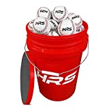Hit Run Steal Bucket of Baseballs | Practice Baseballs in 6 Gallon Padded Bucket Cushioned Lid Seat | Regular Size Balls (24 Count)
