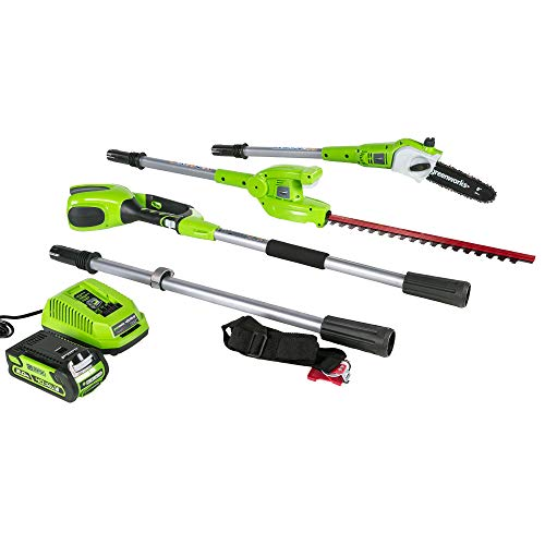 Greenworks 8 Inch 40V Cordless Pole Saw with Hedge Trimmer Attachment 2.0 AH Battery Included PSPH40B210 (Renewed)