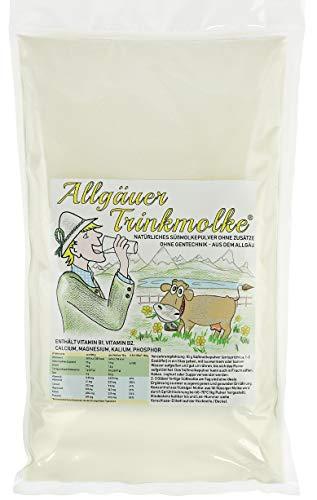 Puntzelhof Allgäuer Trinkmolke im Beutel – 1x 2.000 g Süssmolke Molkepulver, ohne Zusätze, Deutsches Naturprodukt aus bester Milch, praktischer Nachfüllbeutel
