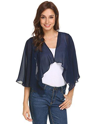Pinspark Women's Sheer Bolero Shrug Shawl Chiffon Thin Cardigan Navy Blue