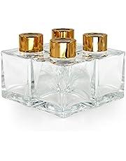 Frandy House Kwadratowe szklane butelki dyfuzora zestaw 4-8 cm wysokości, 100 ml 3,5 fl uncji akcesoria zapachowe używane do samodzielnego wykonania zamiennych dyfuzorów ustnikowych z olejkami eterycznymi, trzcinowymi patyczkami (100 ml)