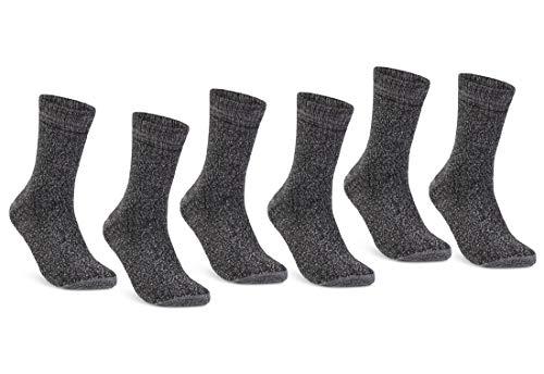 6 | 12 | 24 Paar THERMO Socken Damen und Herren Vollfrottee Wintersocken Schwarz Baumwolle (43-46, 6 Paar | Grau meliert)