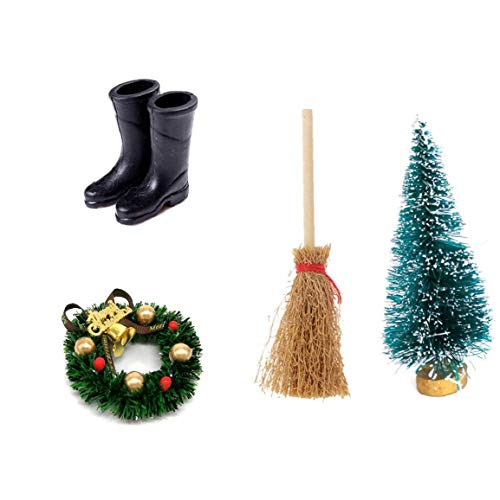 Casa de muñecas Corona de Navidad Escoba de Alta Botas de Lluvia del árbol de Cedro de Navidad Negro Accesorio para la decoración del Hogar