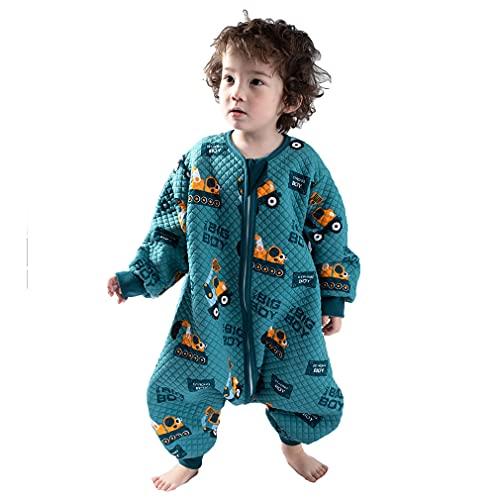 Schlafsack mit Füßen Langarm KinderSchlafsack Baumwolle Cartoon Druck Schlafsack mit Beinen Ganzjährig Schlafanzug für Junge Mädchen Unisex