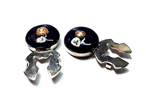 Artesanal, 1 par de cubrebotones de 18 mm, esmalte azul marino, beige, Murano, baño, plata brillante, con botones y llavero